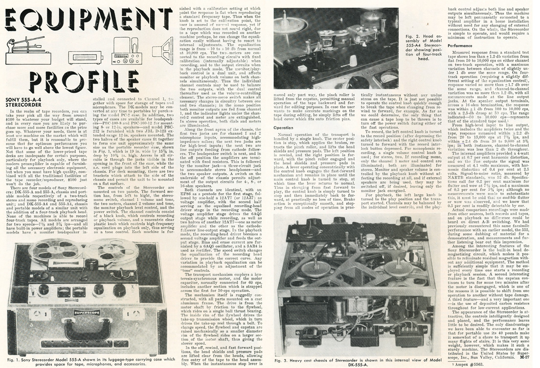 1959 review of the Sony DK-555A reel to reel tape recorder in Reel2ReelTexas.com's vintage recording collection
