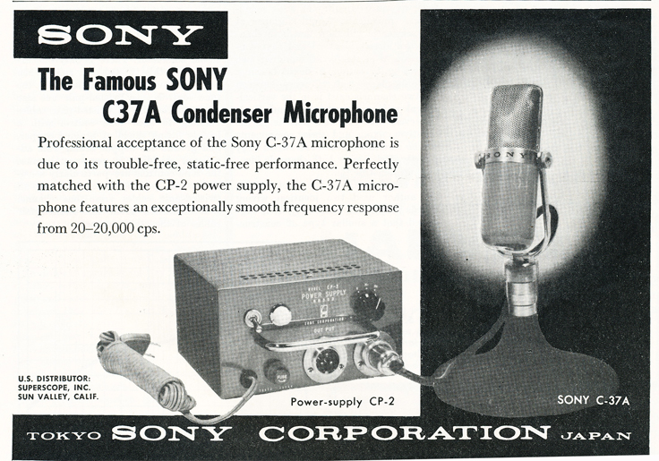 1959 ad for the Sony C-37A Condenser microphone in Reel2ReelTexas.com's vintage recording collection