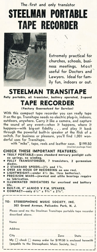 1959 ad for Steelman reel to reel tape recorders in Phantom Productions' intage recording collection