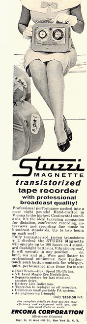 1959 Ad for Stuzzi reel tape recorder in Reel2ReelTexas.com vintage tape recorder collection