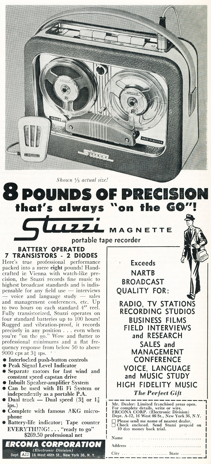 1959 ad for the Stuzzi reel to reel tape recorder in Phantom Productions' intage recording collection