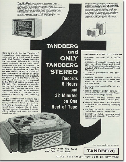 picture of Tandberg tape recorder ad from 1959 Tape Recording magazine