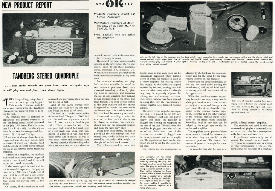 1959 review of the Tandberg 5 reel to reel tape recorder in Reel2ReelTexas.com's vintage recording collection