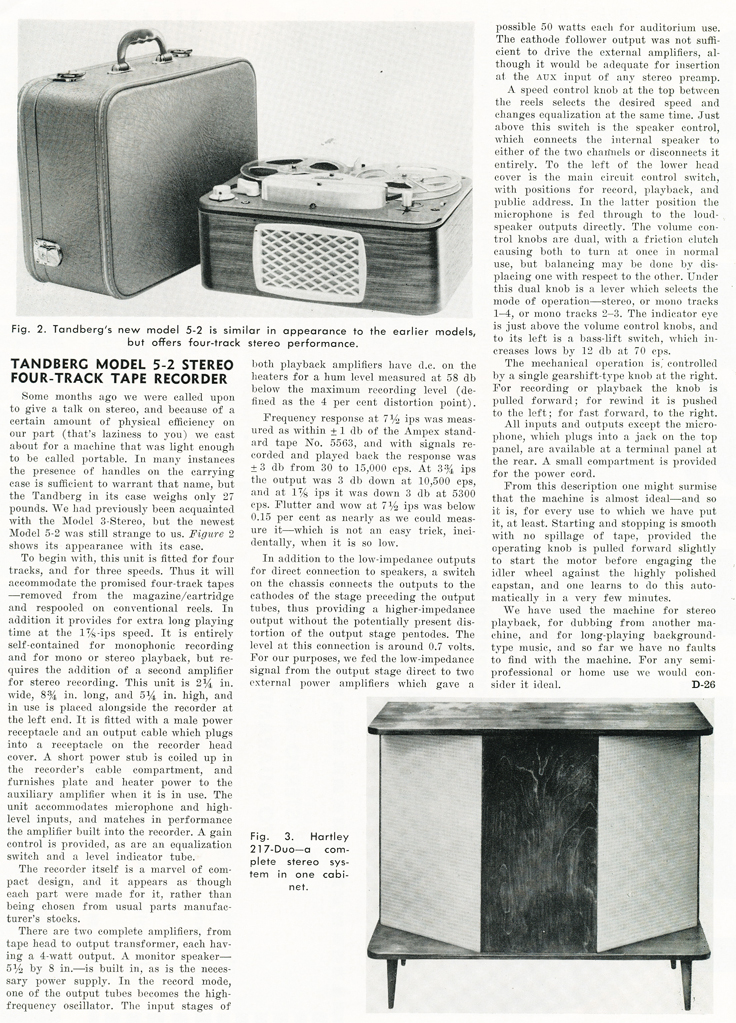 1959 review of the Tandberg 5 reel tape recorder in Reel2ReelTexas.com's vintage recording collection