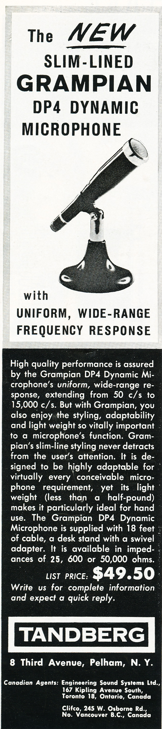 1959 ad for the Tandberg Microphones in Reel2ReelTexas.com's vintage recording collection