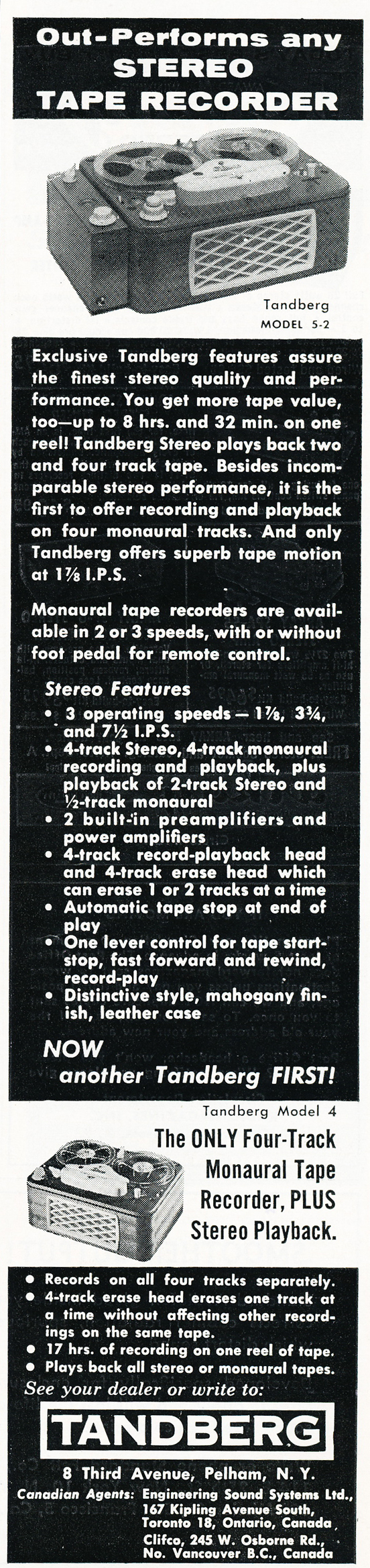 1959 ad for the Tandberg Model 5 reel to reel tape recorder in Reel2ReelTexas.com's vintage recording collection