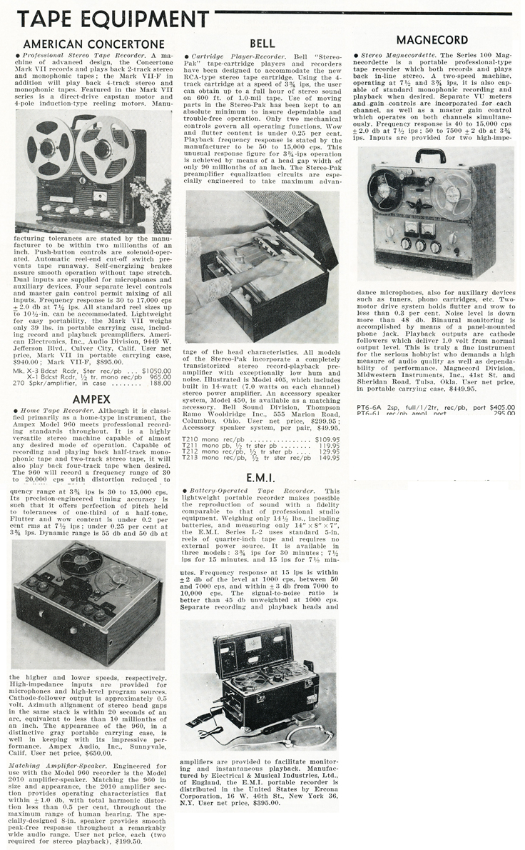 1959 Reel to reel tape recorder summaries