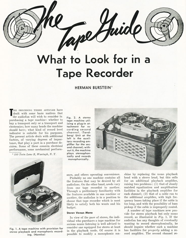 1959 Reel Tape Recorder Guide