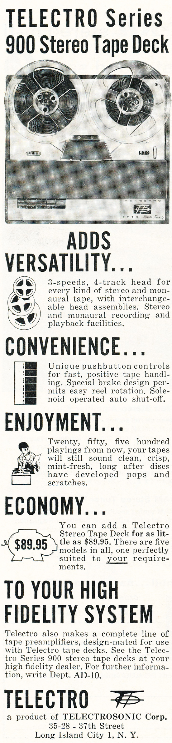 1959 ad for the Telectro reel tape recorder in Reel2ReelTexas.com's vintage recording collection