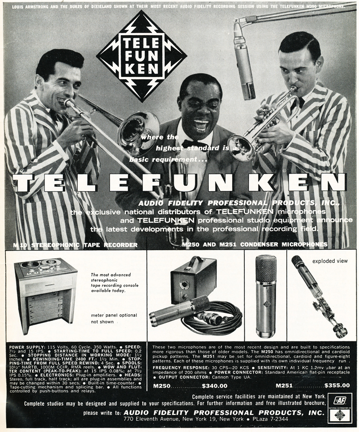 1959 ad for Telefunken professional audio products in Reel2ReelTexas.com's vintage recording collection