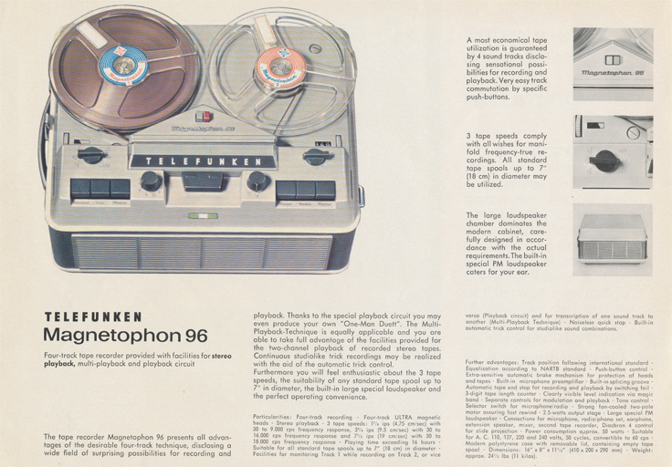 Magnetophon 96 in Telefunken Magnettophon brochure in Reel2ReelTexas.com's vintage reel tape recorder collection