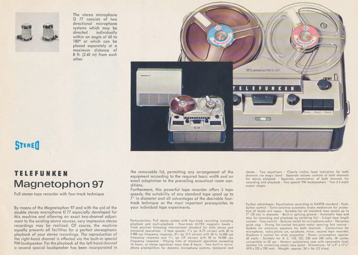 Magnetophon 97 in Telefunken Magnettophon brochure in Reel2ReelTexas.com's vintage reel tape recorder collection
