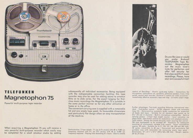 Magnetophon 75 in Telefunken Magnettophon brochure in Reel2ReelTexas.com's vintage reel tape recorder collection