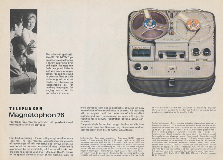 Magnetophon 76 in Telefunken Magnettophon brochure in Reel2ReelTexas.com's vintage reel tape recorder collection