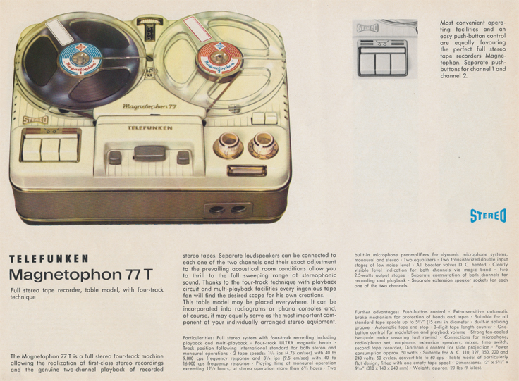 Magnetophon 77 T in Telefunken Magnettophon brochure in Reel2ReelTexas.com's vintage reel tape recorder collection