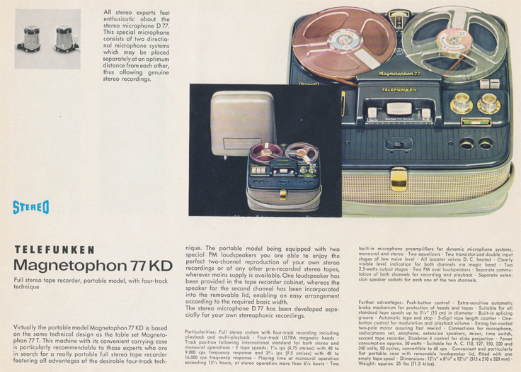 Magnetophon 77KD in Telefunken Magnettophon brochure in Reel2ReelTexas.com's vintage reel tape recorder collection