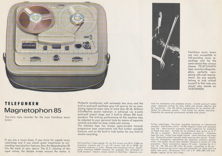 Magnetophon 85 in Telefunken Magnettophon brochure in Reel2ReelTexas.com's vintage reel tape recorder collection
