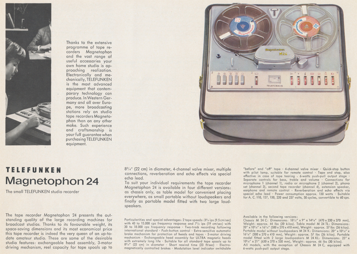 Magnetophon 24 in Telefunken Magnettophon brochure in Reel2ReelTexas.com's vintage reel tape recorder collection