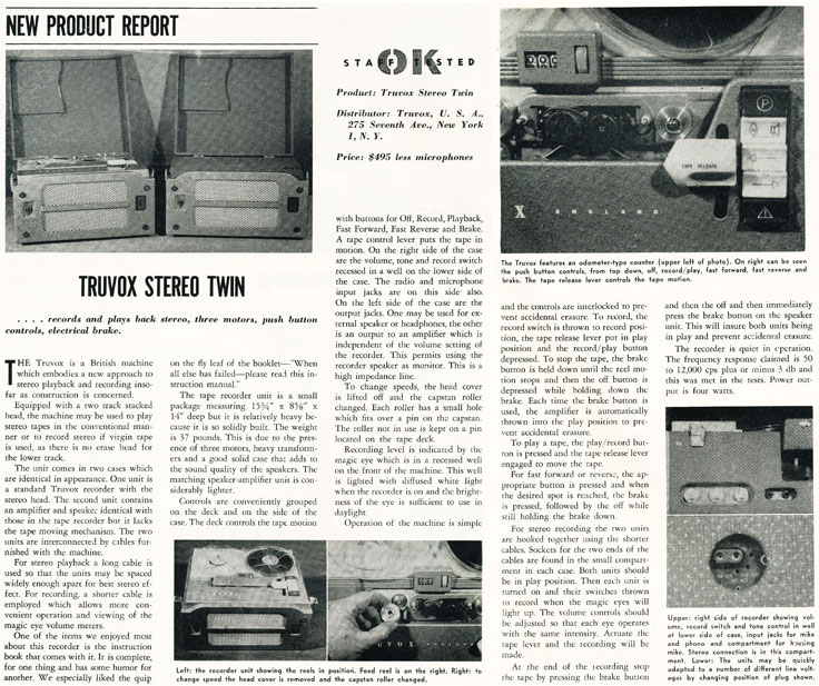 1959 review of the Trulux reel to reel tape recorder in Reel2ReelTexas.com's vintage recording collection