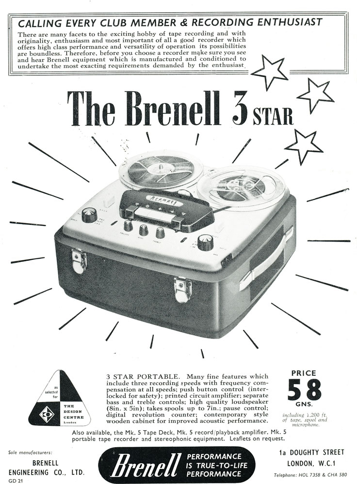 1959 ad for the United Kingdom Brenell reel to reel tape recorder in Reel2ReelTexas.com's vintage recording collection