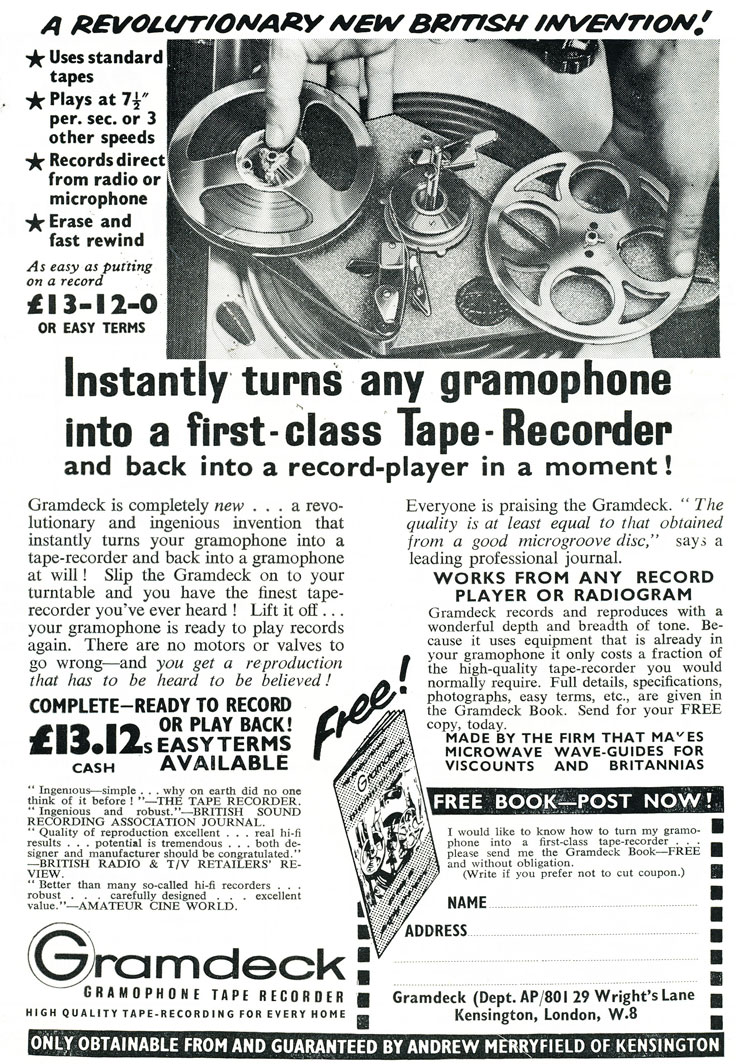 1959 ad for the United Kingdom Gramdeck that turns any gramophone into a  reel to reel tape recorder in Reel2ReelTexas.com's vintage recording collection