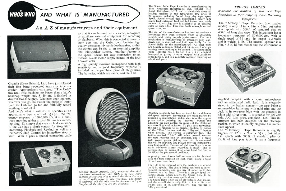 1959 Listing of new product for the United Kingdom  in Reel2ReelTexas.com's vintage recording collection