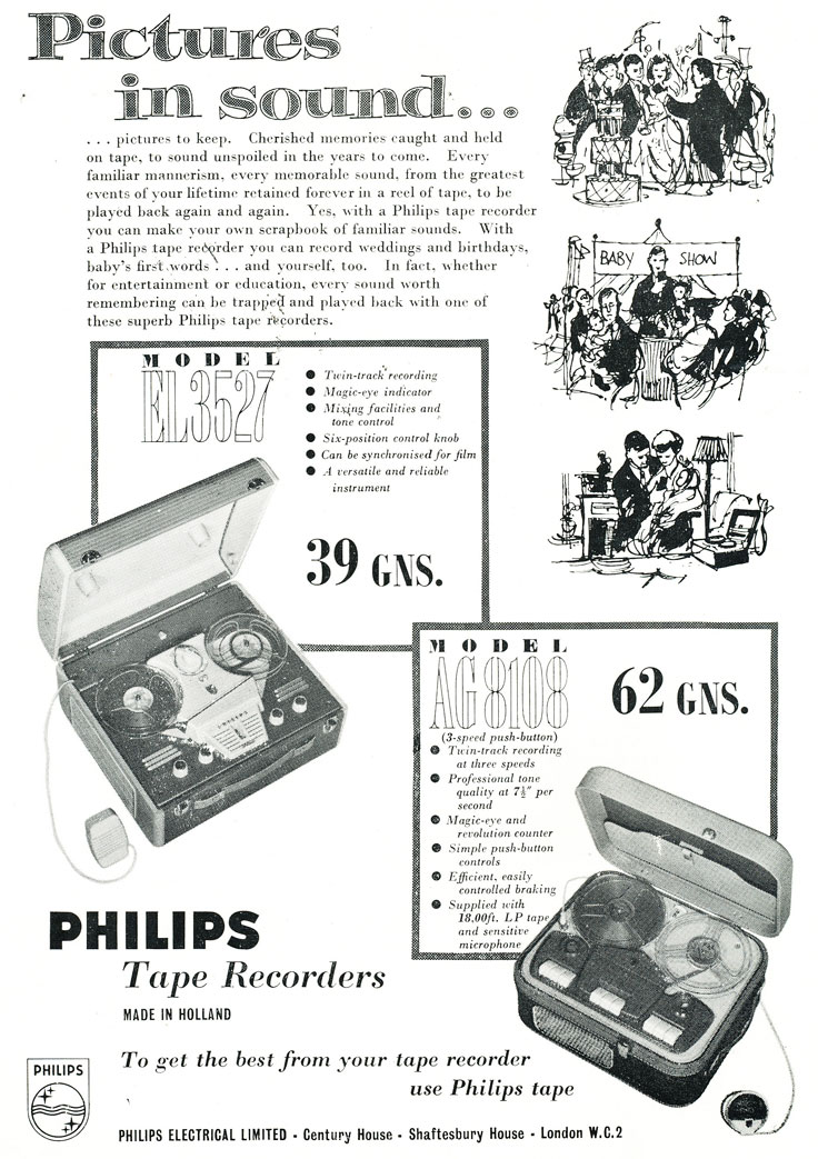 1959 ad for the United Kingdom Phillips reel to reel tape recorder in Reel2ReelTexas.com's vintage recording collection