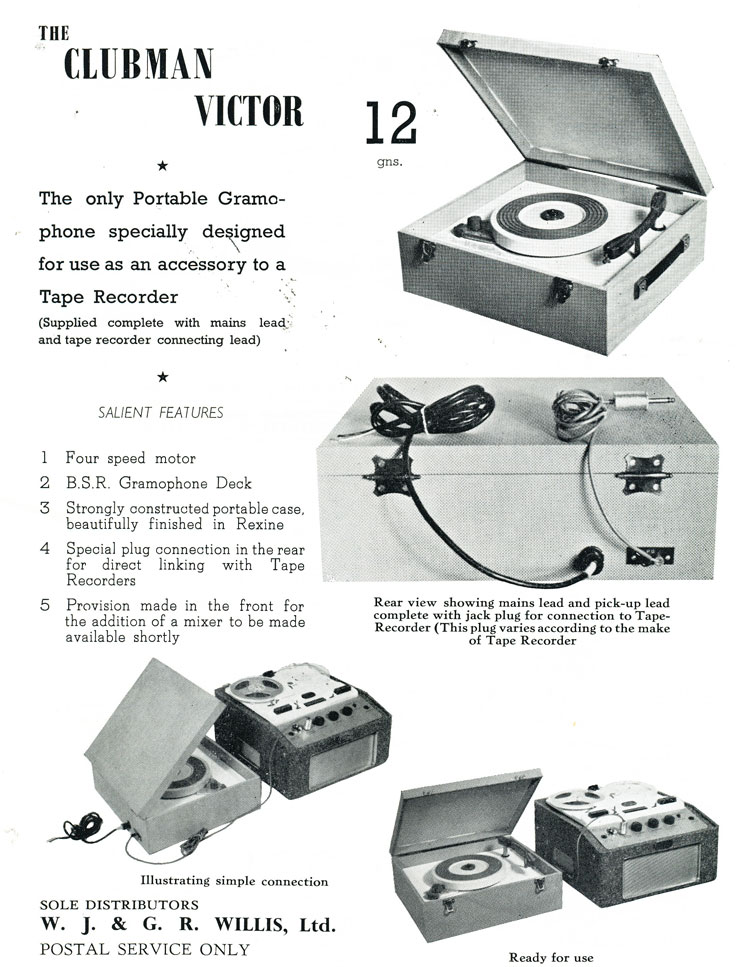 1959 ad that includes the United Kingdom Spectone reel to reel tape recorder in Reel2ReelTexas.com's vintage recording collection