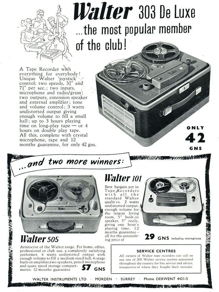 1959 ad for the United Kingdom Walter reel to reel tape recorder in Reel2ReelTexas.com's vintage recording collection