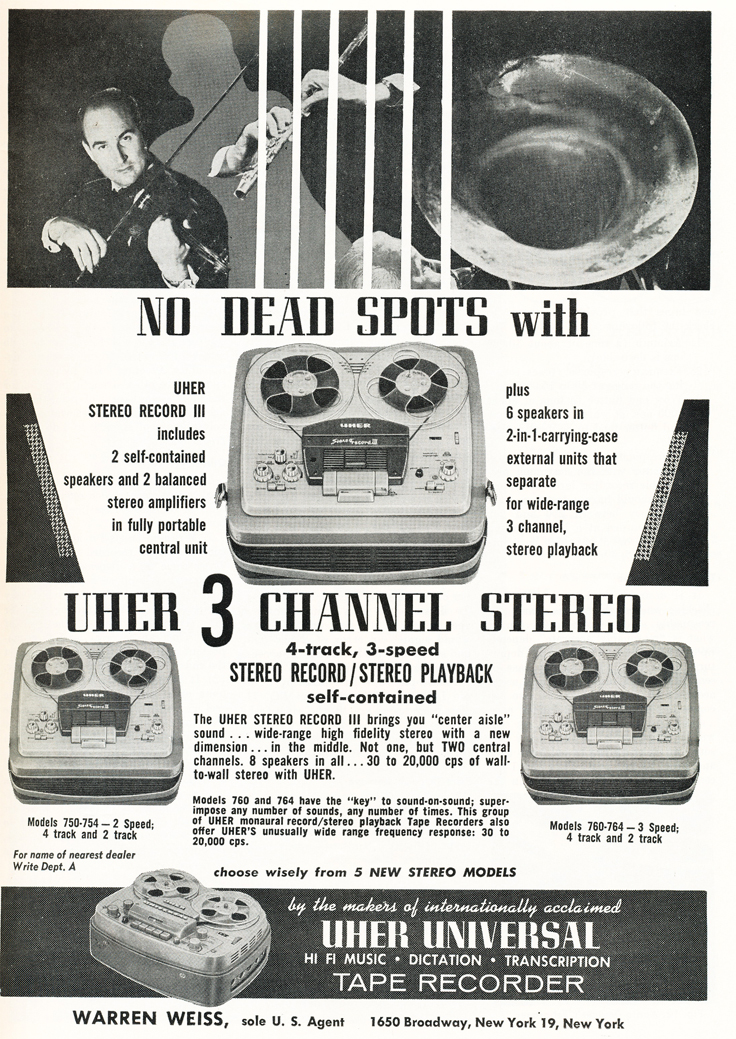 1959 ad for  the Uher Universal reel to reel tape recorder in Reel2ReelTexas.com's vintage recording collection