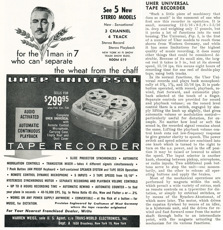 1959 ad and review of the Uher Universal reel to reel tape recorder in Reel2ReelTexas.com's vintage recording collection