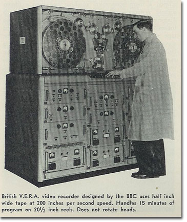 picture of V.E.R.A. video recorder from BBC from 1959 Tape Recording magazine