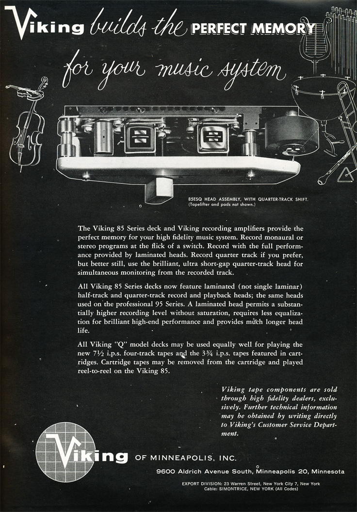 1959 ad for the Viking 85 reel to reel tape recorder in Reel2ReelTexas.com's vintage recording collection
