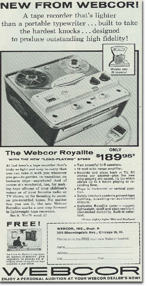 picture of Webcor tape recorder ad from 1959 Tape Recording magazine
