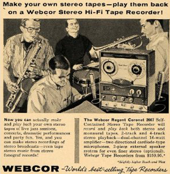 1959 Ad for Webcor Regent reel tape recorder in Reel2ReelTexas.com vintage tape recorder collection