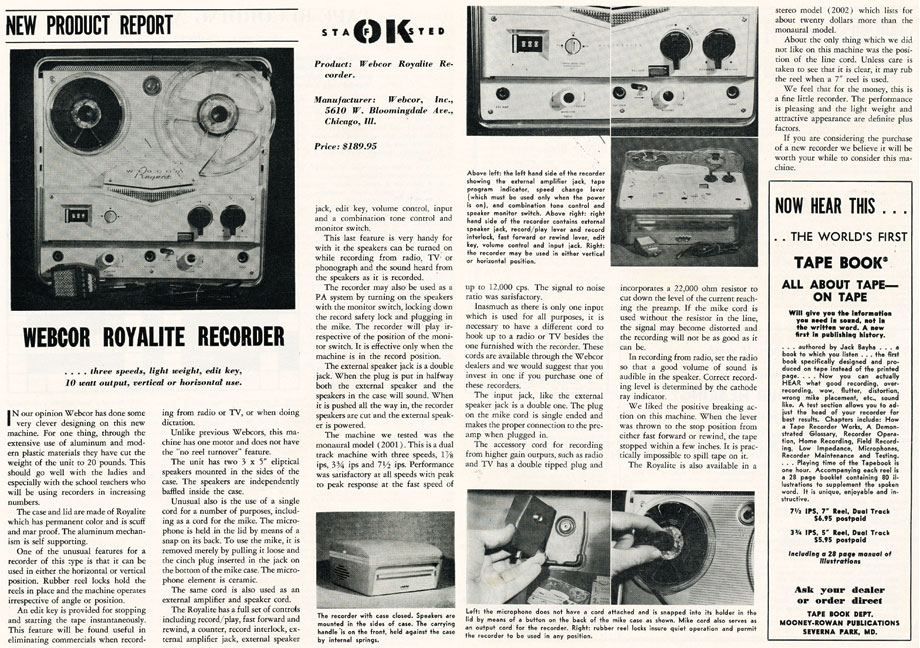 1959 review of the Webcor Royalite reel to reel tape recorder in Reel2ReelTexas.com's vintage recording collection