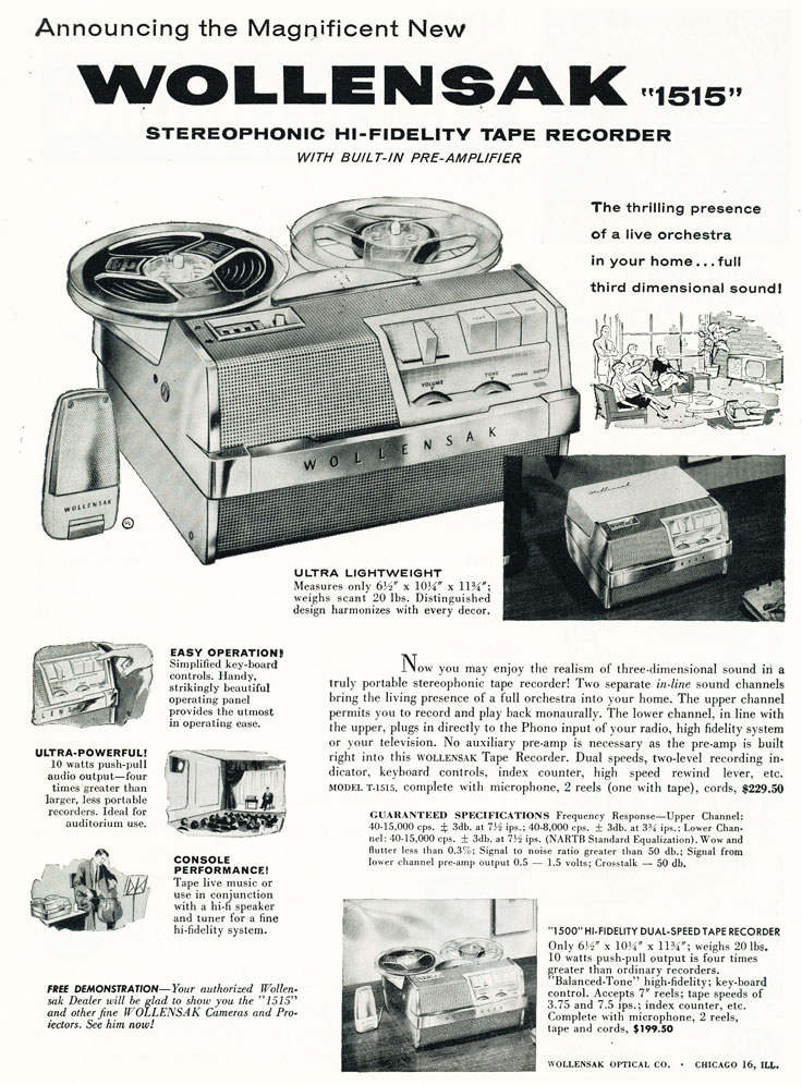 1959 ad for the 3M Wollensak 1515 reel to reel tape recorder in Reel2ReelTexas.com's vintage recording collection