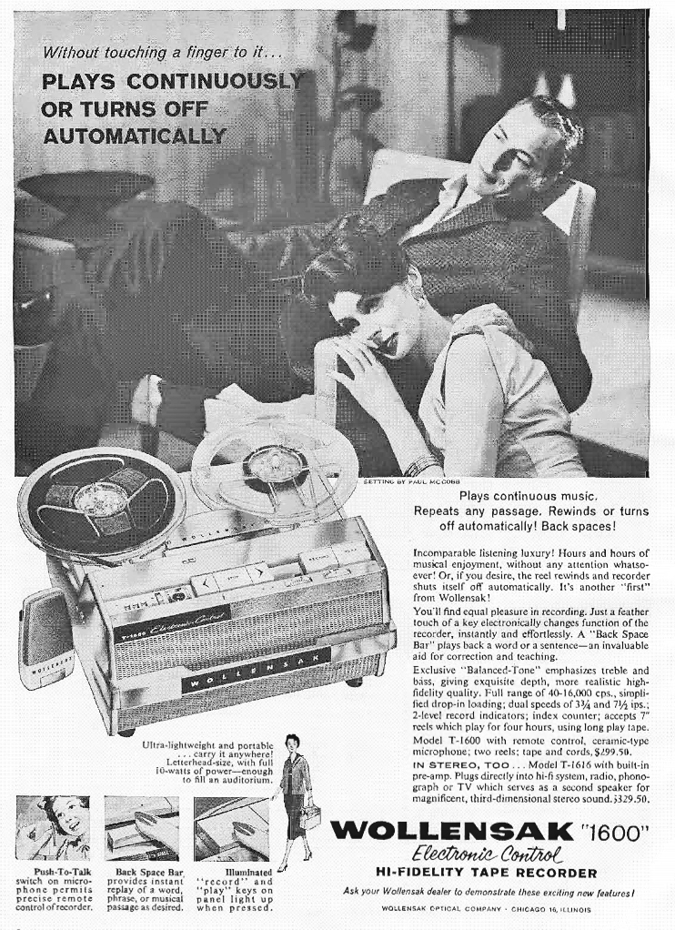 1959 ad for the 3M Wollensak 1600 reel to reel tape recorder in Reel2ReelTexas.com's vintage recording collection