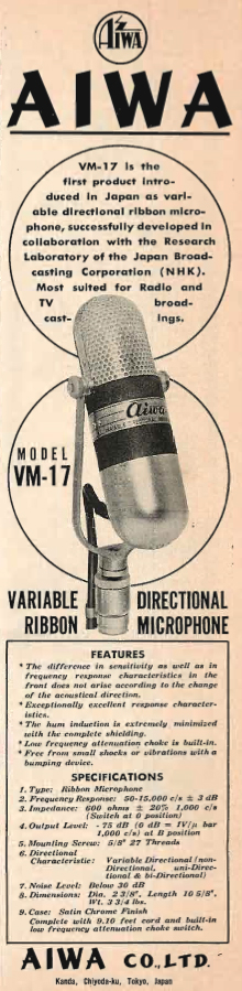 1960 ad for the RCA 77 knockoff by Aiwa called the VM-12 microphone.  This was also released by Calrad and was also called VM-12.  The Calrad mic is in the Reel2ReelTexas.com's vintage microphone and recording equipment collection.