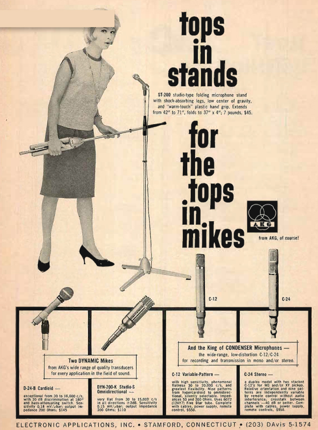 1960 ad for AKG microphones and microphone stands in the Reel2ReelTexas.com's vintage recording collection