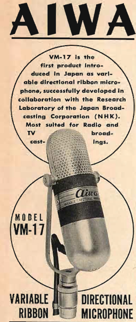 1960 ad for the RCA 77 knockoff by Aiwa called the VM-12 microphone.  This was also released by Calrad and was also called VM-12.  The Calrad mic is in the Reel2ReelTexas.com's vintage recording collection.