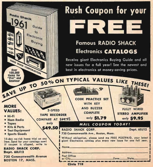 1960 Allied Radio catalog ad in Phantom Productions' vintage tape recording collection