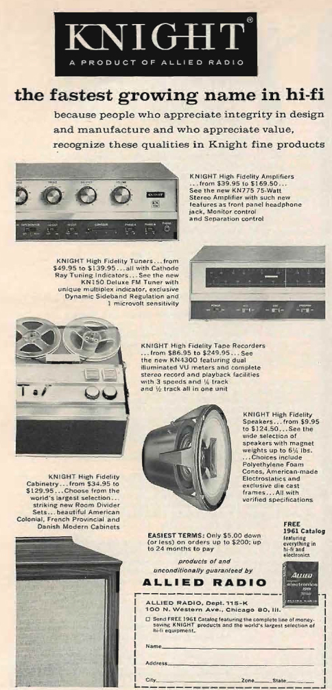 1960 Allied Radio catalog and Knight products ad in Phantom Productions' vintage tape recording collection