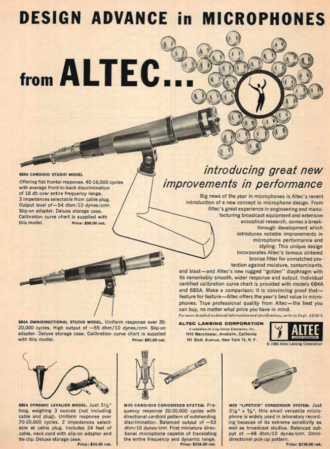 1960 ad for the Altec 695A microphone in the Reel2ReelTexas.com's vintage recording collection