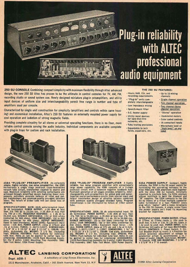 1960 ad for Altec professional audio mixers in the Reel2ReelTexas.com's vintage recording collection