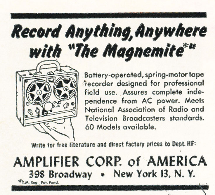 1960 ad for the Amplifier Corporation of America's Magnimite reel to reel spring wound tape recorder in Reel2ReelTexas.com's vintage recording collection