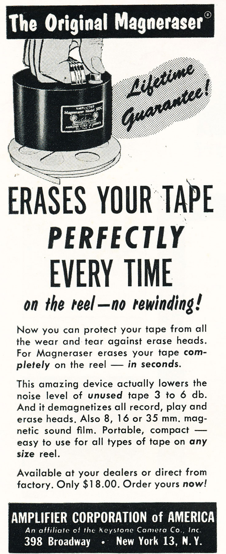 1960 ad for Amplifier Corporation of America's Bulk reel to reel tape eraser in Reel2ReelTexas.com's vintage recording collection