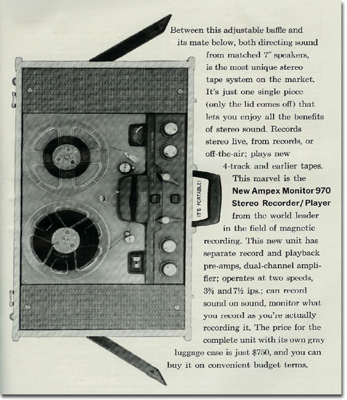 1960 ad for the Ampex 970 reel to reel tape recorder in the Reel2ReelTexas.com's vintage recording collection