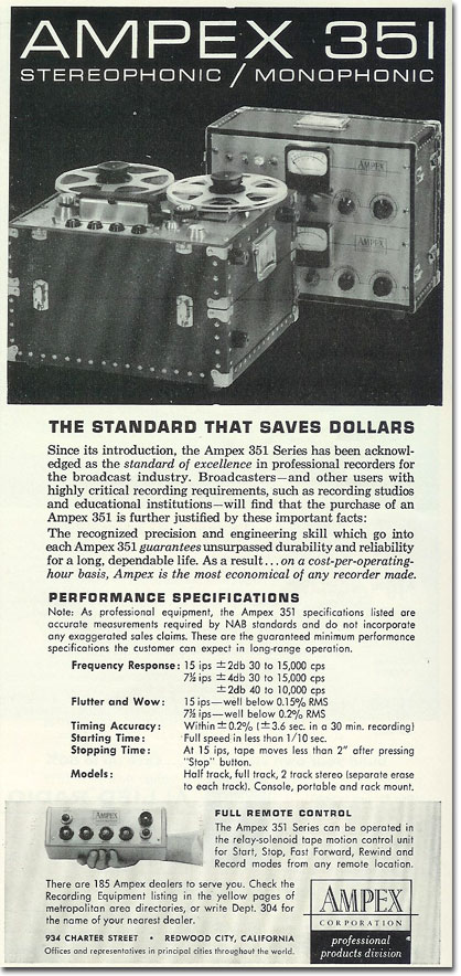 1960 ad for the Ampex 351 professional reel to reel tape recorder in the Reel2ReelTexas.com's vintage recording collection