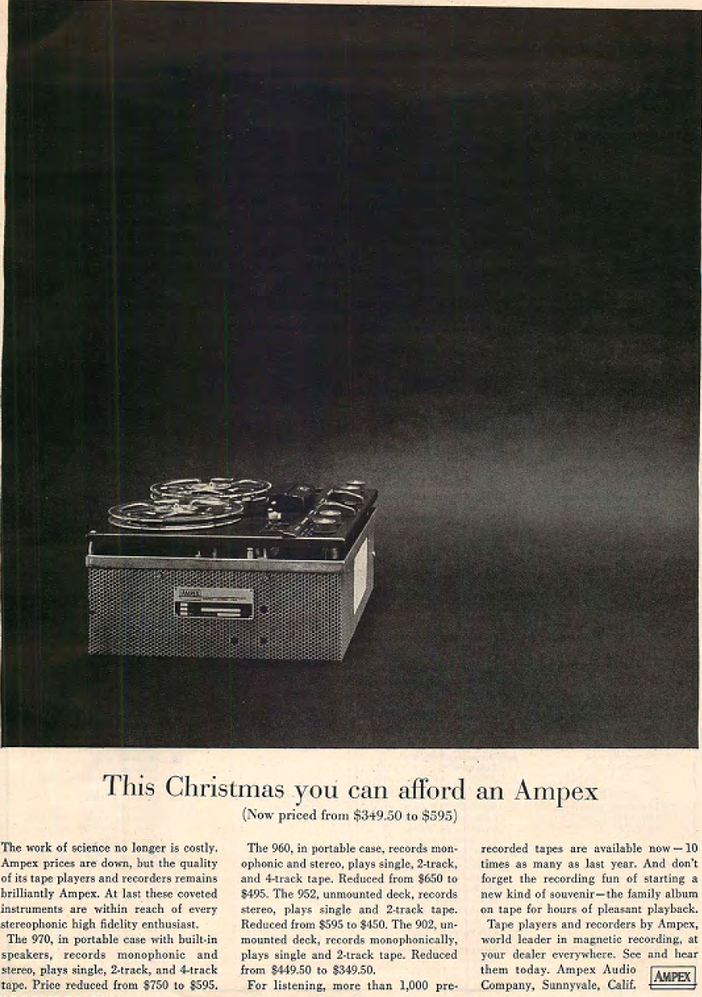 1960 Christmas ad for the Ampex 960 reel to reel tape recorder in the Reel2ReelTexas.com's vintage recording collection